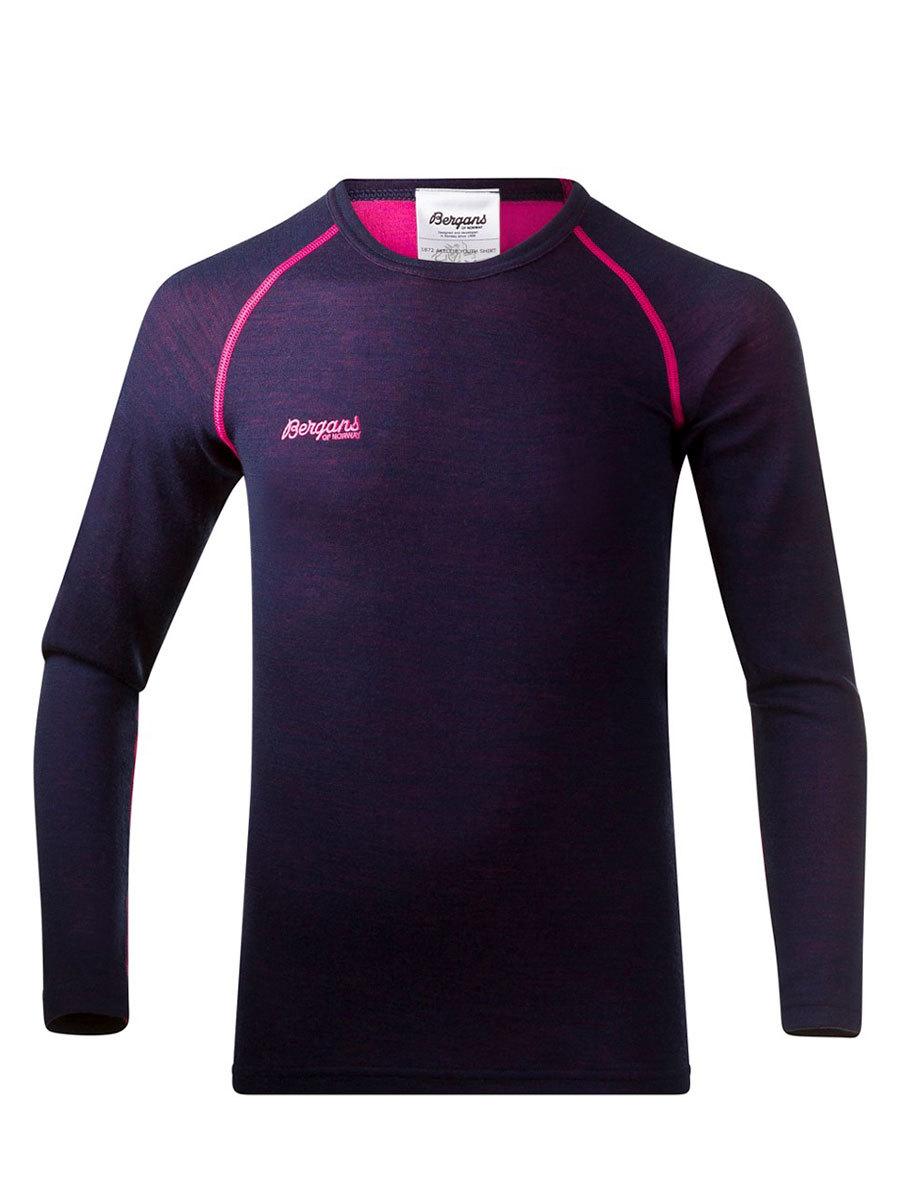 Bergans термобелье 1872 футболка Akeleie Youth Shirt Navy/Hot Pink