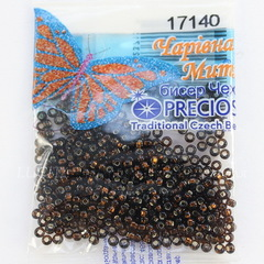17140 Бисер 10/0 Preciosa прозрачный коричневый с серебряным квадратным центром