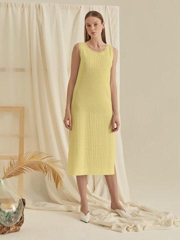 Женское желтое платье без рукава из хлопка - фото 5