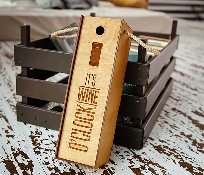 BOX244 Коробка из дерева для бутылки вина (33*10*10,5 см)