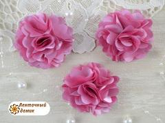 Цветы атласные с фатином темно-розовые диаметр 5 см