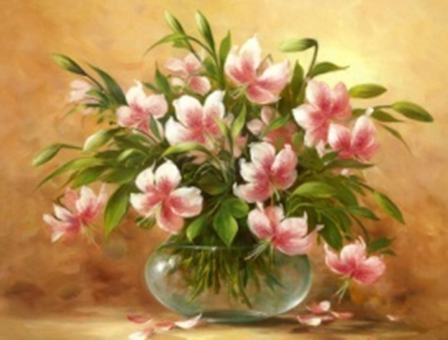 Картина раскраска по номерам 30x40 Нежно-розовые цветы в ...