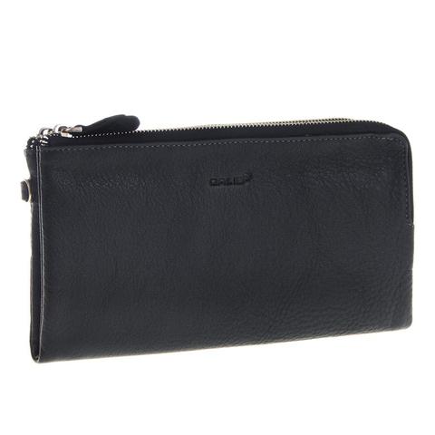Мужской черный клатч портмоне из натуральной кожи на молнии GALIB 7M213