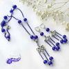 """Бусина стеклянная """"Крэкл"""", шарик, цвет - кобальт, 8 мм, нить (Синий комплект. Пример)"""