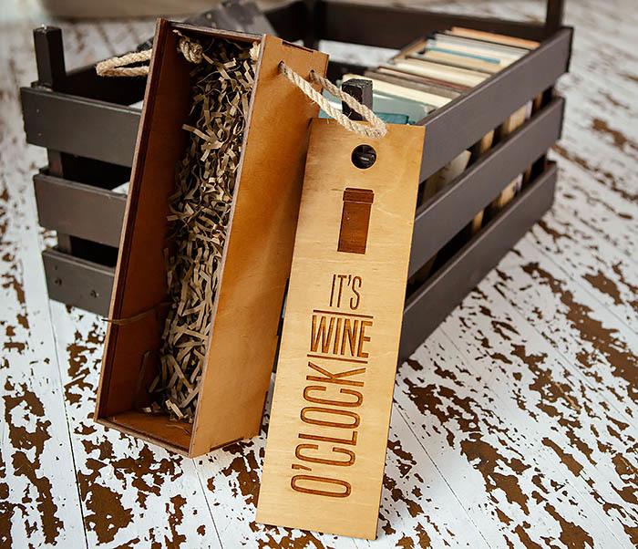 BOX244 Коробка из дерева для бутылки вина (33*10*10,5 см) фото 04
