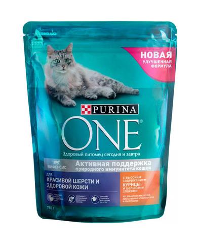 Purina One сухой корм для взрослых кошек для красивой шерсти с курицей 750 г