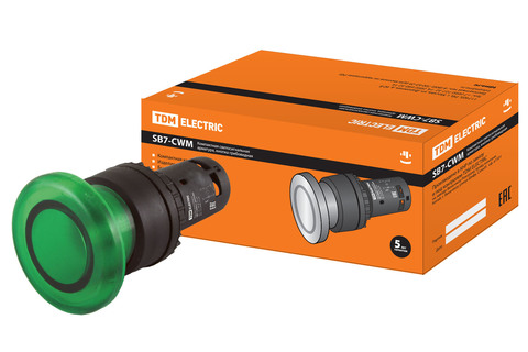 Кнопка грибовидная SB7-CWM31-220V(LED) d35мм 1з зеленая TDM
