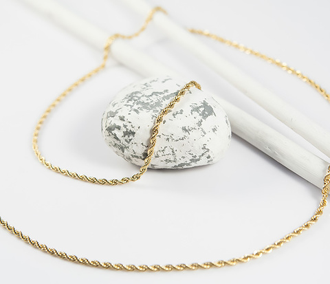 SSNZ-25-02-GD Мужская плетеная цепочка золотистого цвета из стали (50 см)