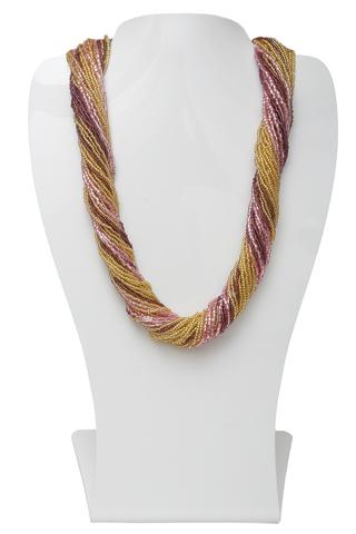 Бисерное ожерелье из 36 нитей цвет золотисто-фиолетовый