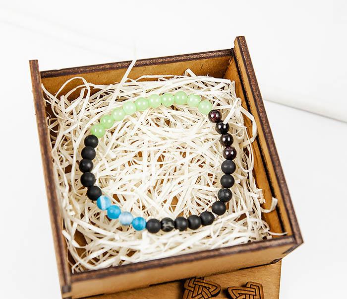 BS814 Яркий браслет ручной работы из оникса и шунгита фото 02