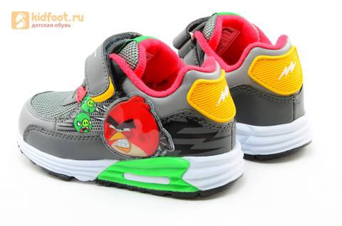 Светящиеся кроссовки для мальчиков Энгри Бердс (Angry Birds) на липучках, цвет темно серый, мигает картинка сбоку. Изображение 7 из 15.