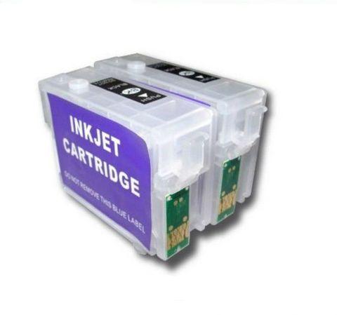 Перезаправляемые картриджи (ПЗК) для Epson WorkForce K101, K201, K301 (T1361/T1371), 2 картриджа с чипами