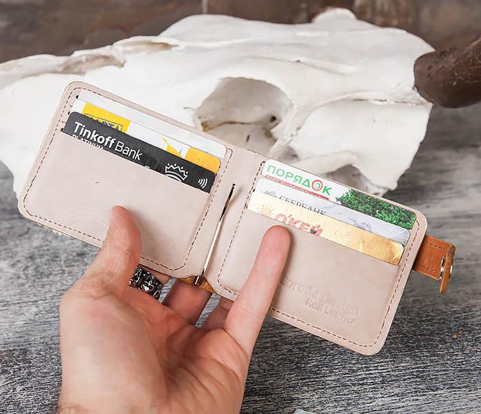 WB115-4 Кожаный зажим для денег ручной работы с застежкой фото 07
