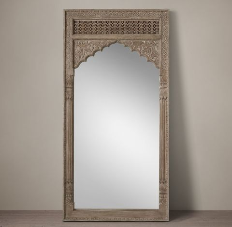 Hand-Carved Indian Lotus Mirror