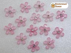 Декор стразовый розовый цветочек со стразиной