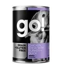 Консервы беззерновые для собак GO! Natural holistic, Grain Free Chicken Stew with Turkey + Duck, с тушеной курицей, индейкой и мясом утки