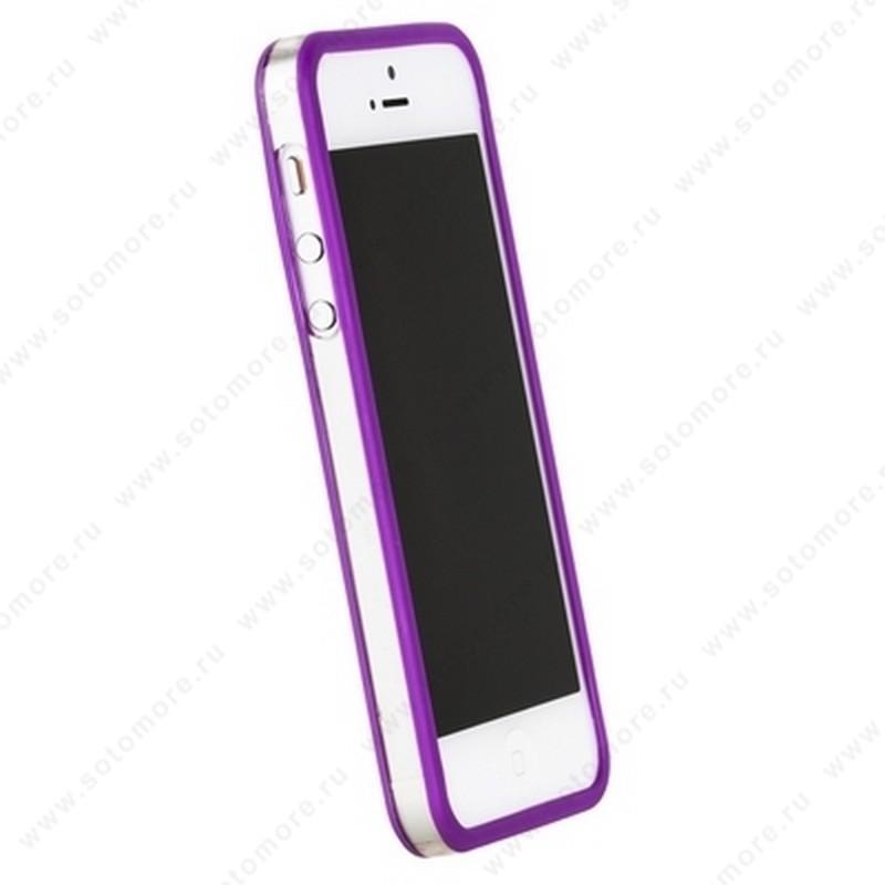 Бампер GRIFFIN для iPhone SE/ 5s/ 5C/ 5 фиолетовый с прозрачной полосой