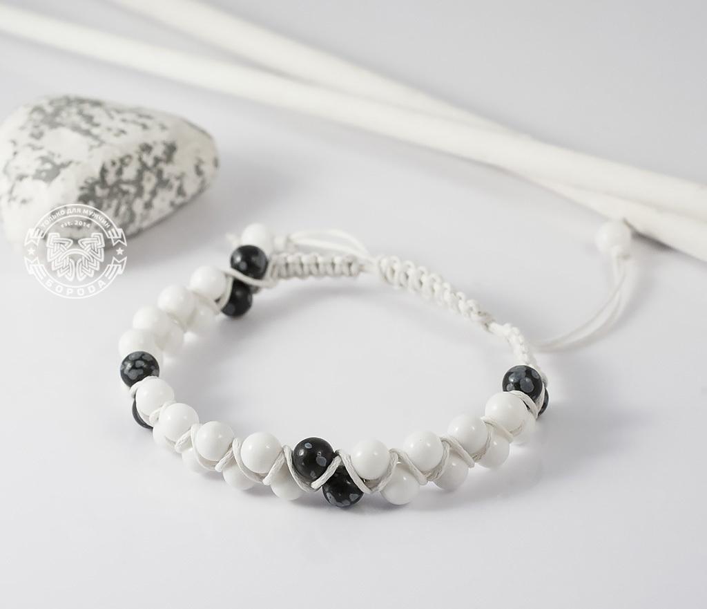 BS605 Белый мужской браслет шамбала ручной работы из натурального камня. «Boroda Design» фото 01