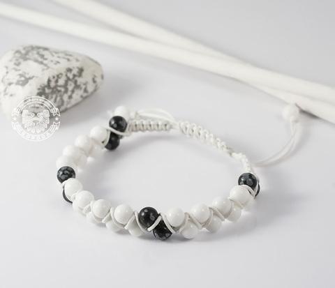 Белый мужской браслет шамбала ручной работы из натурального камня. «Boroda Design»