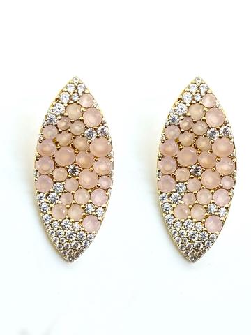 Серьги из серебра в лимонной позолоте  с розовым кварцем в стиле Bruni