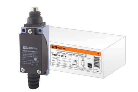 Концевой выключатель ВККН-2110М11-У2 кнопочный толкатель 5А 1з+1р IP65 TDM