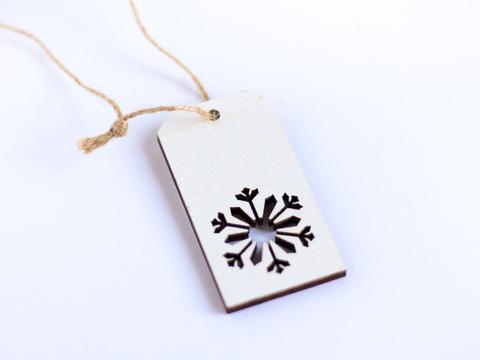 Бирка деревянная Фигурная Let's make снежинка, белая 275193676