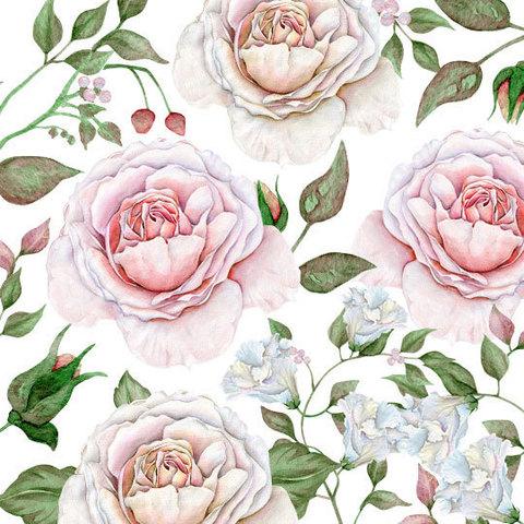 Водорастворимая бумага Модульные белые розы