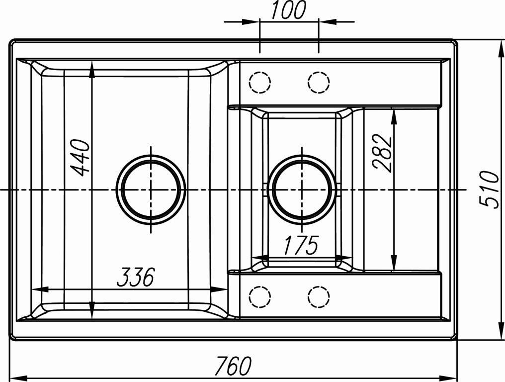 Схема кухонная мойка Dr. Gans 760K