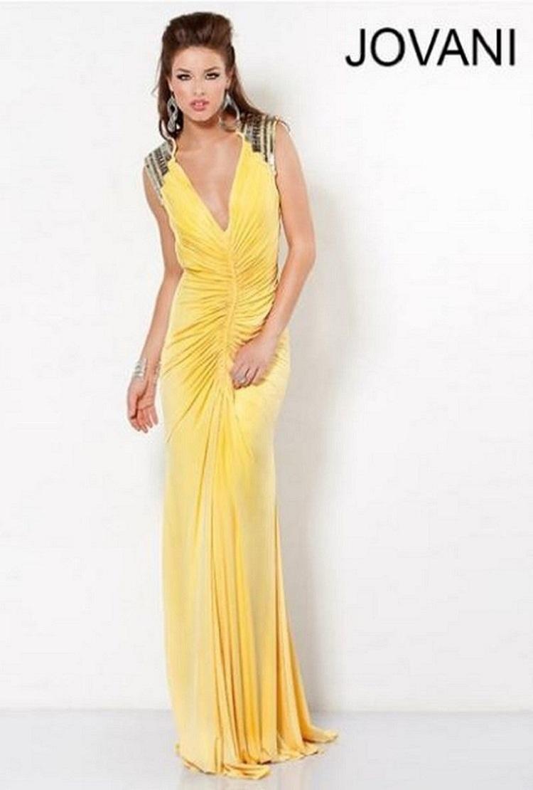 Jovani 4810 Длинное платье в пол, шикарное декольте,плечи украшены пайетками, фасон русалка