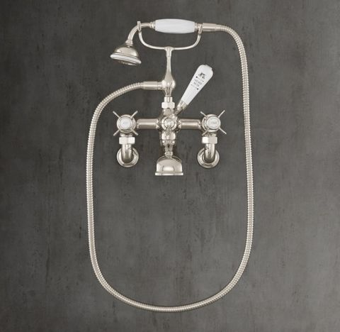 1900 Classic Lever-Handle Wall-Mount Tub Fill & Handheld Shower - White