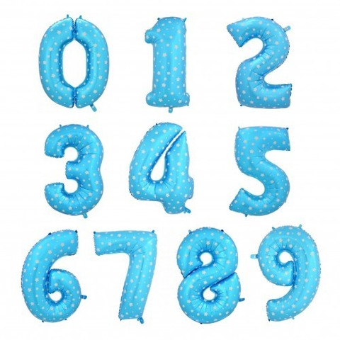 Цифра голубая в горошек