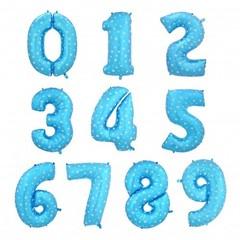 Фольгированная цифра голубая в горошек