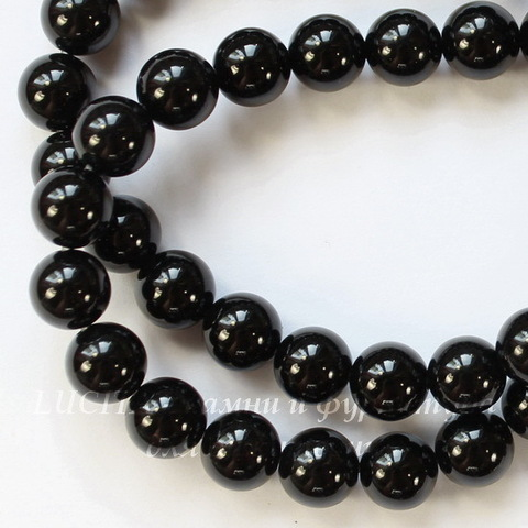 Бусина Агат (Категория А)(прессов), шарик, цвет - черный, 8 мм, нить