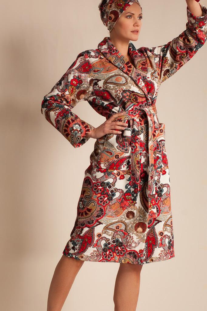 Элитный махровый халат с узорами Luna di Giorno