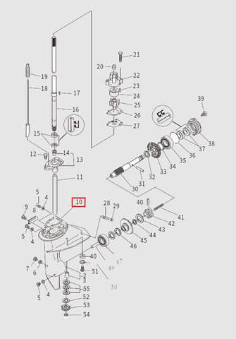 Прокладка обоймы подшипника для лодочного мотора T9.8 Sea-PRO (13-10)