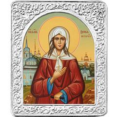 Святая Ксения Петербужская. Маленькая икона в серебряной раме.