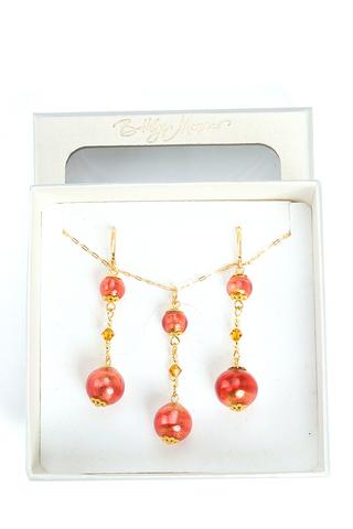 Комплект Primavera золотисто-розовый (серьги, подвеска)