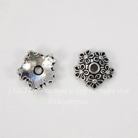 "Шапочка для бусины ""Цветы"" 11х3 мм (цвет - античное серебро), 10 штук"