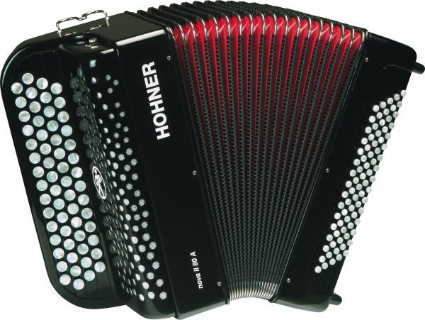 HOHNER Nova II 80 A (А1242) black - кнопочный аккордеон, двухголосный, в правой клавиатуре - 60 кнопок, 1 регистр (slide), в левой клавиатуре - 80 басов, 2 регистра, цвет черный, С-stepped, вес 6,8 кг.