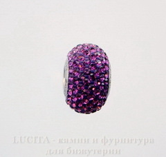 80101 Бусина Сваровски BeCharmed Pave Amethyst 14х9 мм
