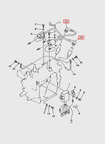 Колпачек высоковольтного провода  для лодочного мотора T15, OTH 9,9 SEA-PRO (9-10)