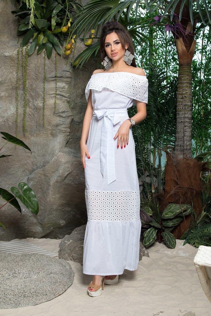 31bbd7281a2 Длинное легкое летнее платье с открытыми плечами