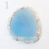 Подвеска Срез Агата, цвет - опалово-голубой (№1 (65х57 мм))
