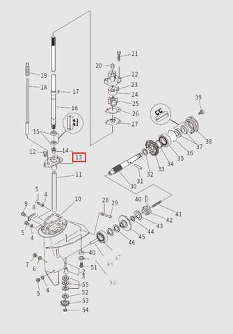 Обойма подшипника для лодочного мотора T9.8 Sea-PRO (13-13)