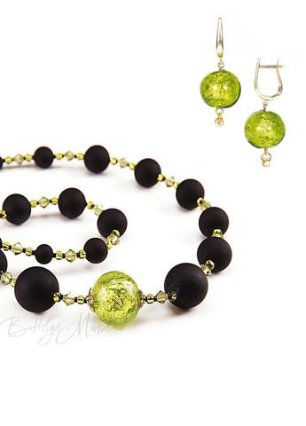 Комплект украшений Monte Amiata черно-зеленый