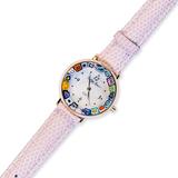 Часы бледно-розовом кожаном ремешке с разноцветным циферблатом