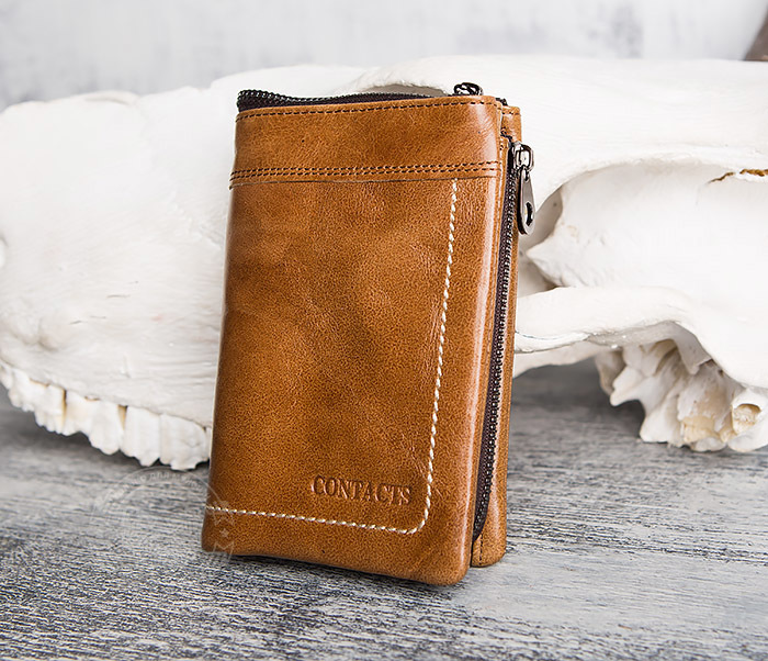 WL285-2 Мужской кошелек из натуральной кожи на молнии