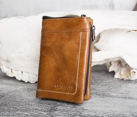 Мужской кошелек из натуральной кожи на молнии