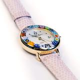 Часы на бледно-розовом ремешке (нет в наличии, поступление в феврале) с разноцветным ободом