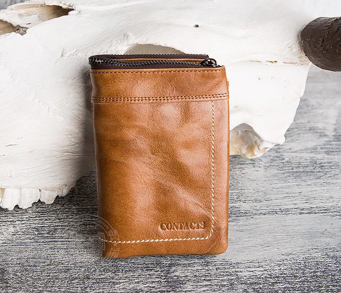 WL285-2 Мужской кошелек из натуральной кожи на молнии фото 02